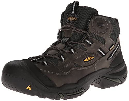 KEEN Utility Men's Braddock Mid Steel Toe Boot,Gargoyle/Forest,10.5 D US