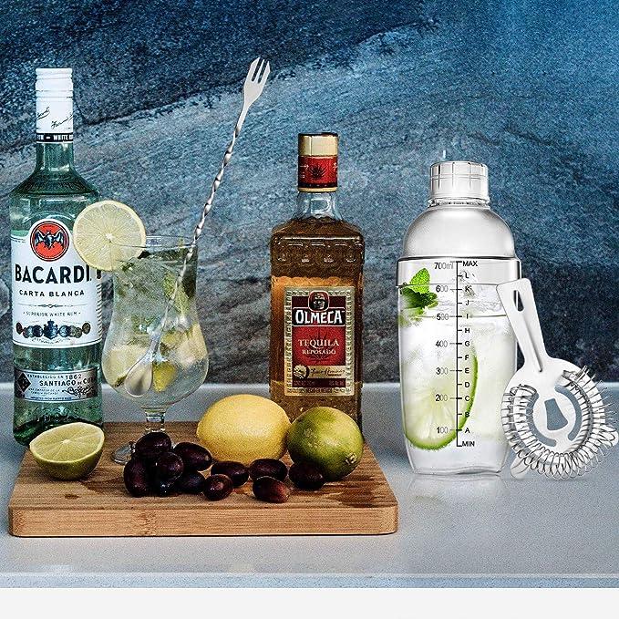 Set de 4 Herramientas de Cocteleras Batidor de Coctéles de Plástico Transparente Botella de Vino de Bar Medida de Cóctel de Medición Doble Cuchara de ...