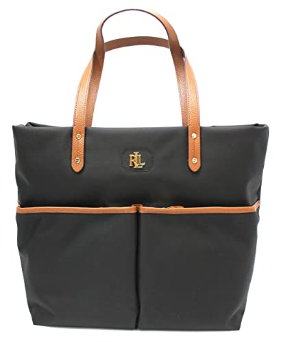 f86a3b19bb Ralph Lauren Benton Shannon Large Nylon Tote (Black)  Handbags  Amazon.com