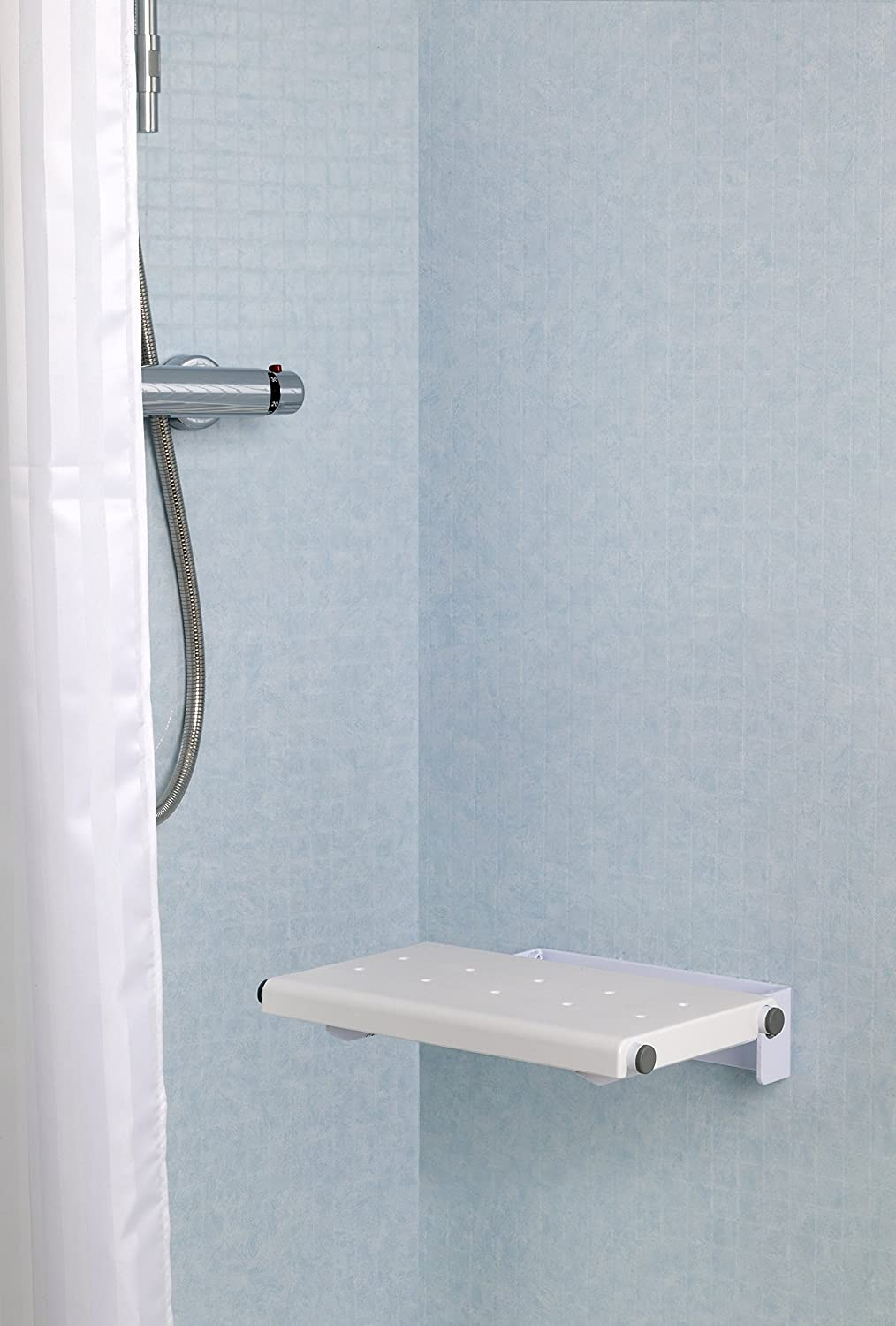 Croydex Wall Mounted Fold-Away Shower Seat, White - no fixings ...