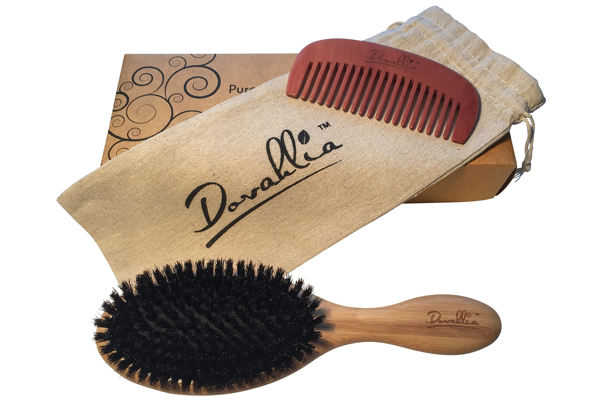 Boar Bristle Hair Brush Set for Women and Men - Designed for Thin and Normal Hair - Adds Shine and Improves Hair Texture - Wood Comb and Gift Bag Included (black) by Dovahlia (Image #4)
