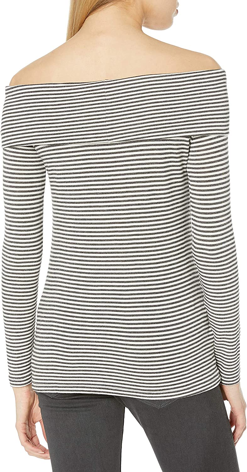 Three Dots Womens Stripe Off Shoulder French Terry Tee