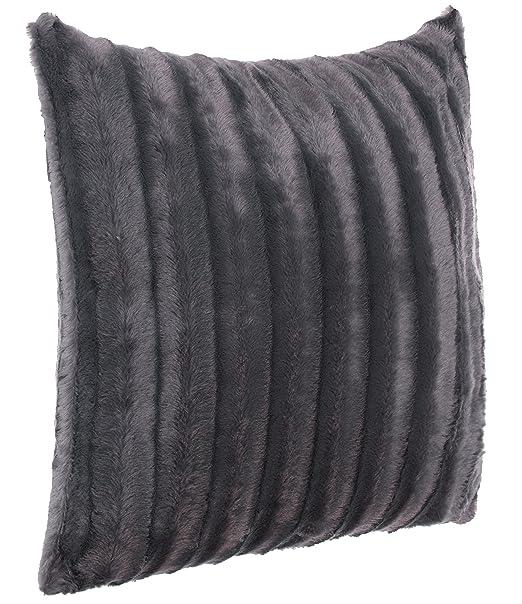 Brand sseller Piel – Cojín (imitación de Pelo/imitación de visón, – Muy Suave y cálido con Relleno – Tamaño: 50 x 50 cm, Fibra sintética, Antracita, ...
