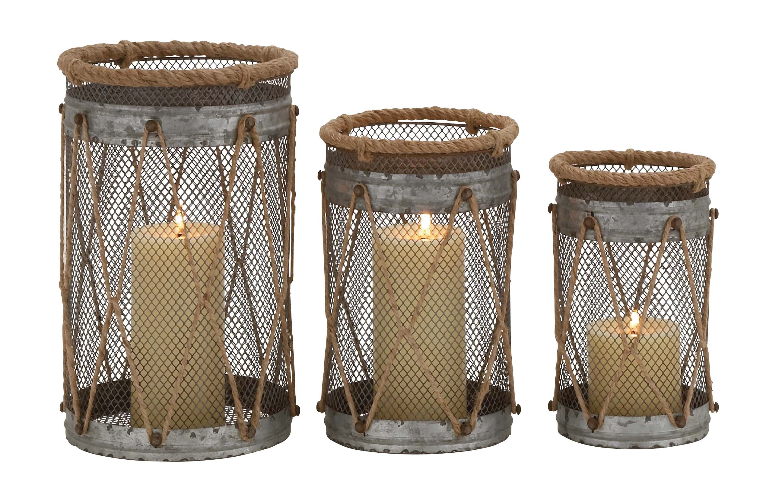 Deco 79 Metal Rope Candle Holder, 11 by 9 by 8-Inch, Set of 3