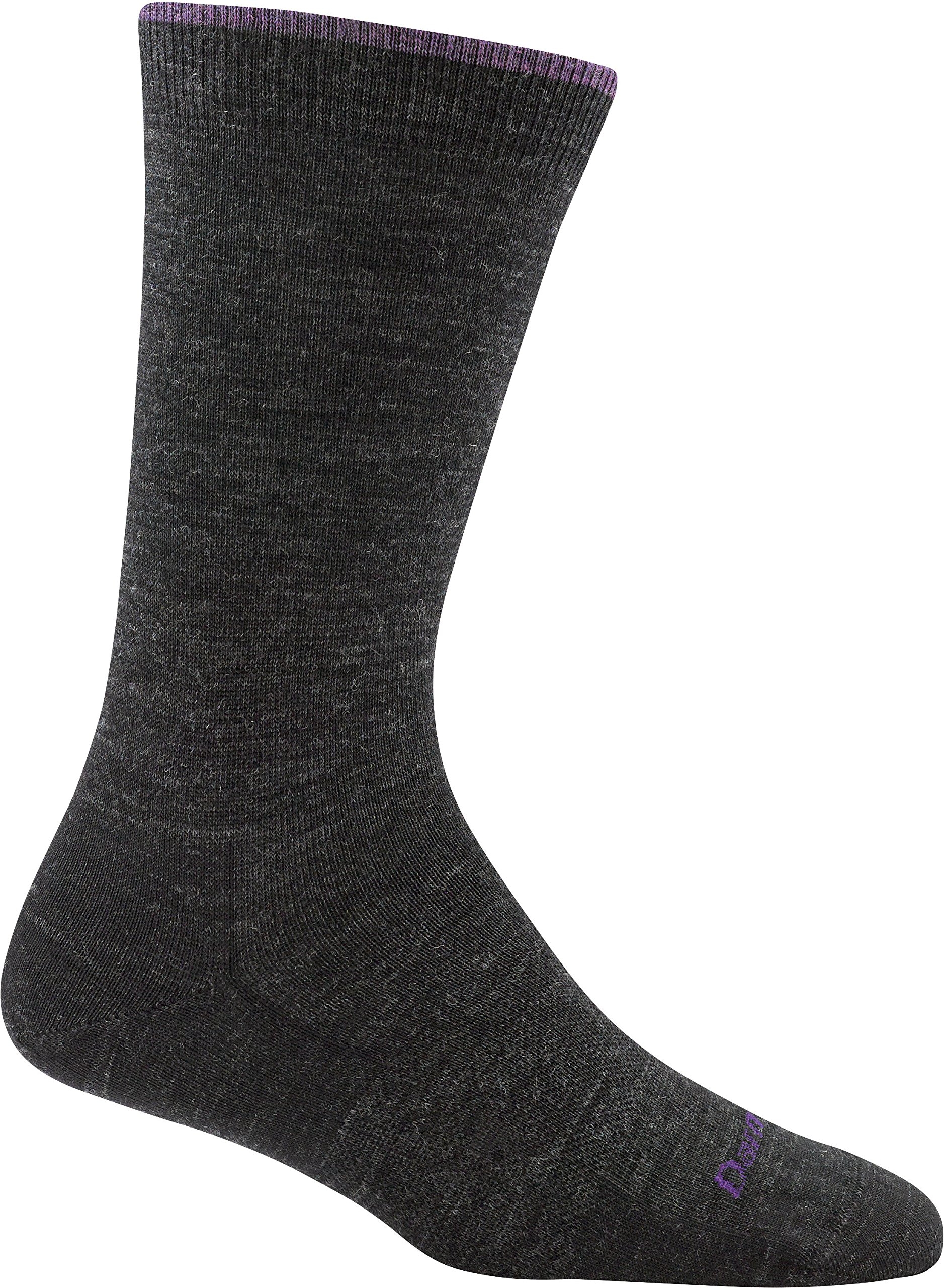 Darn Tough Women's Merino Wool Solid Basic Crew Light Socks, Charcoal, Large - 6 Pack
