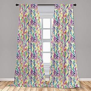 "Ambesonne Geometric 2 Panel Curtain Set, Mixed Mosaic Vivid Nature Inspired Kids Girls Hippie Contrast Design, Lightweight Window Treatment Living Room Bedroom Decor, 56"" x 84"", Magenta Green"