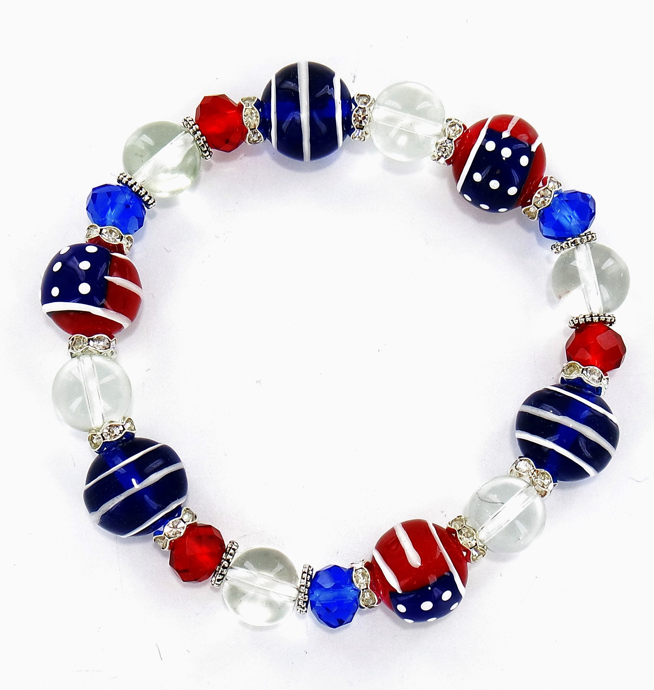 Fiona Accessories Americana USA Flag Patriotic Stretch Bracelet Women – Military Pride Bracelet Bangle Gift – Premium Glass Bead Bracelet - Hand Painted Bracelet