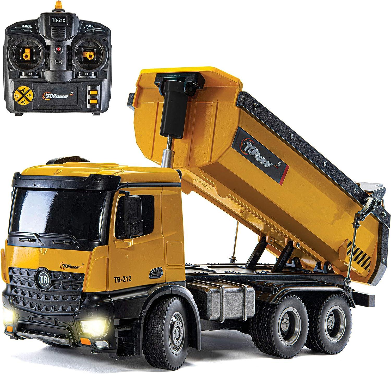 Top Race Camión volquete de construcción de Control Remoto, Juguete de camión volquete RC, vehículo de Juguete de construcción, Escala de construcción de Metal Pesado y plástico 1:14 Grande, 22 LBS