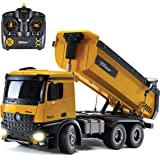 Top Race Remote Control Construction Dump Truck, RC Dump Truck Toy, Construction Toys Vehicle, RC Truck Toys, Heavy Duty Metal and Plastic Construction Truck 1:14 Scale, 7 LBS Load Capacity TR-212
