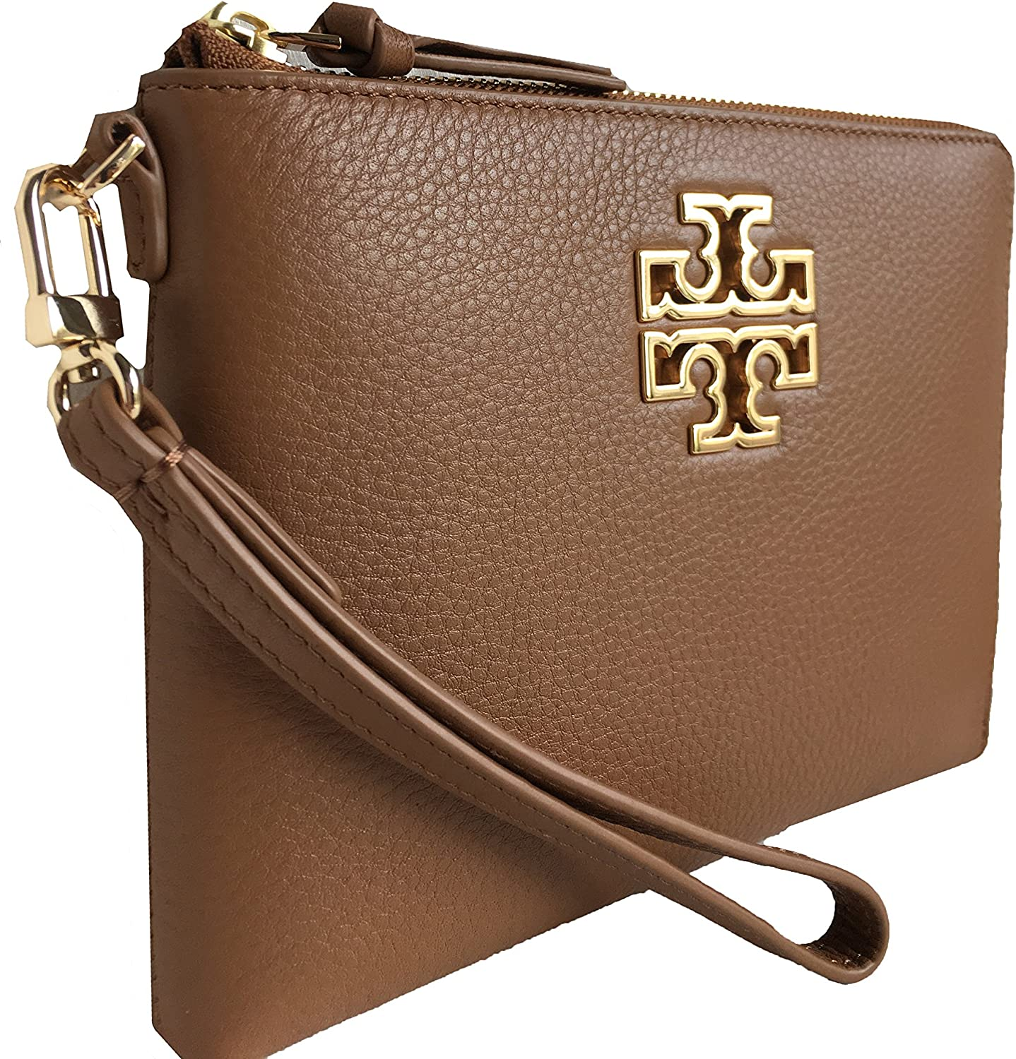 Tory Burch Britten Large Pebbled Leather Zip Pouch Wristlet (Bark)