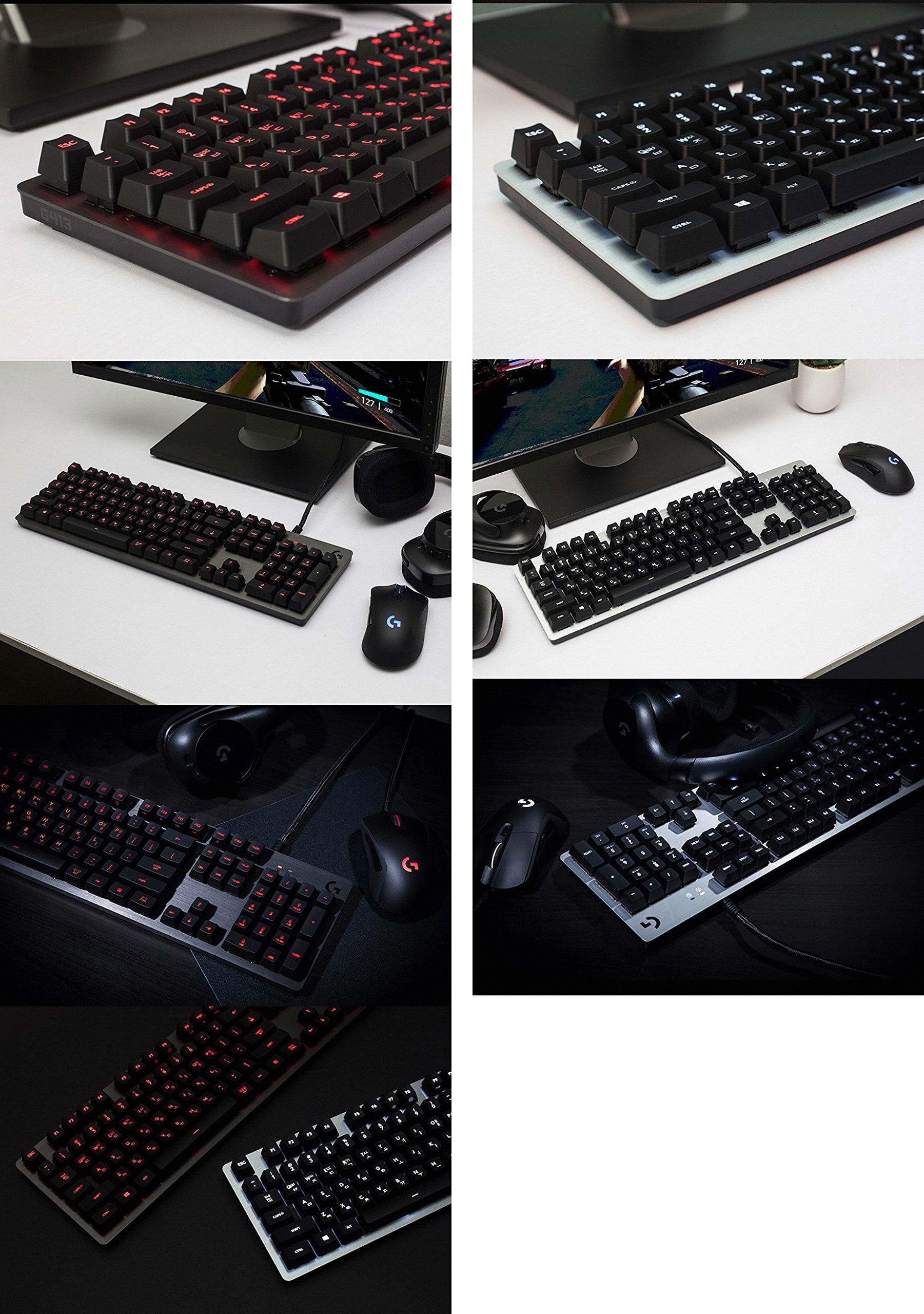 Logitech G413 Backlit Aluminum Mechanical Gaming Keyboard with USB Passthrough -International Version- EN/KR Layout (Silver)