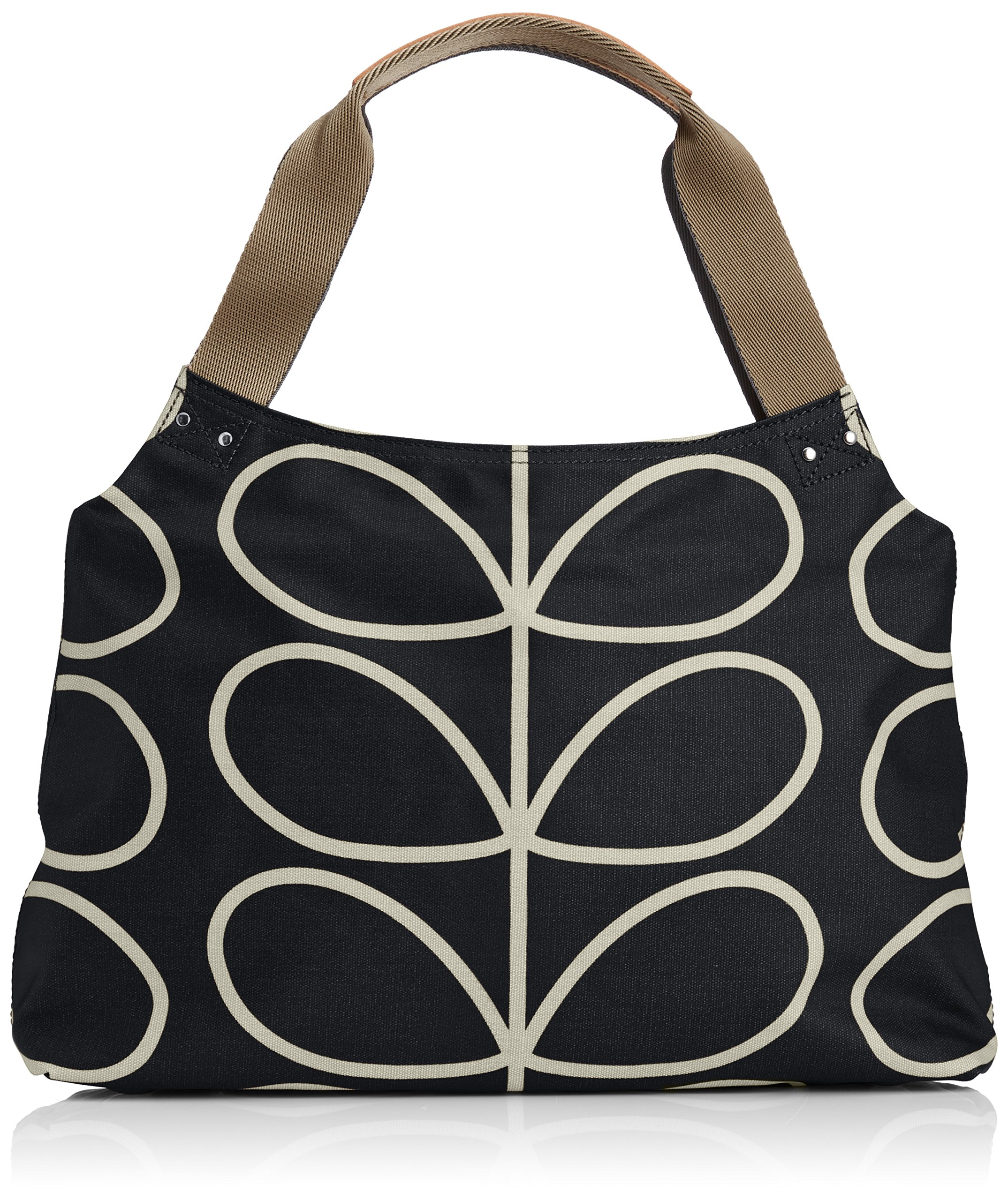 Orla Kiely Core Linear Classic Zip Shoulder Bag, Black/Cream, One Size