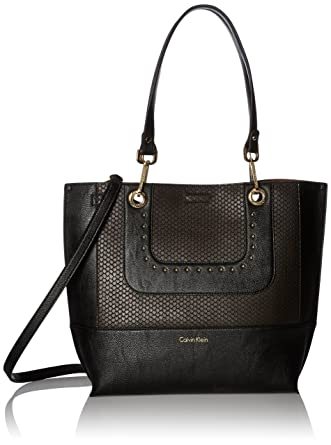 a14ac967996 Amazon.com: Calvin Klein Sonoma Novelty Snake Reversible Tote, Black Stud:  Clothing