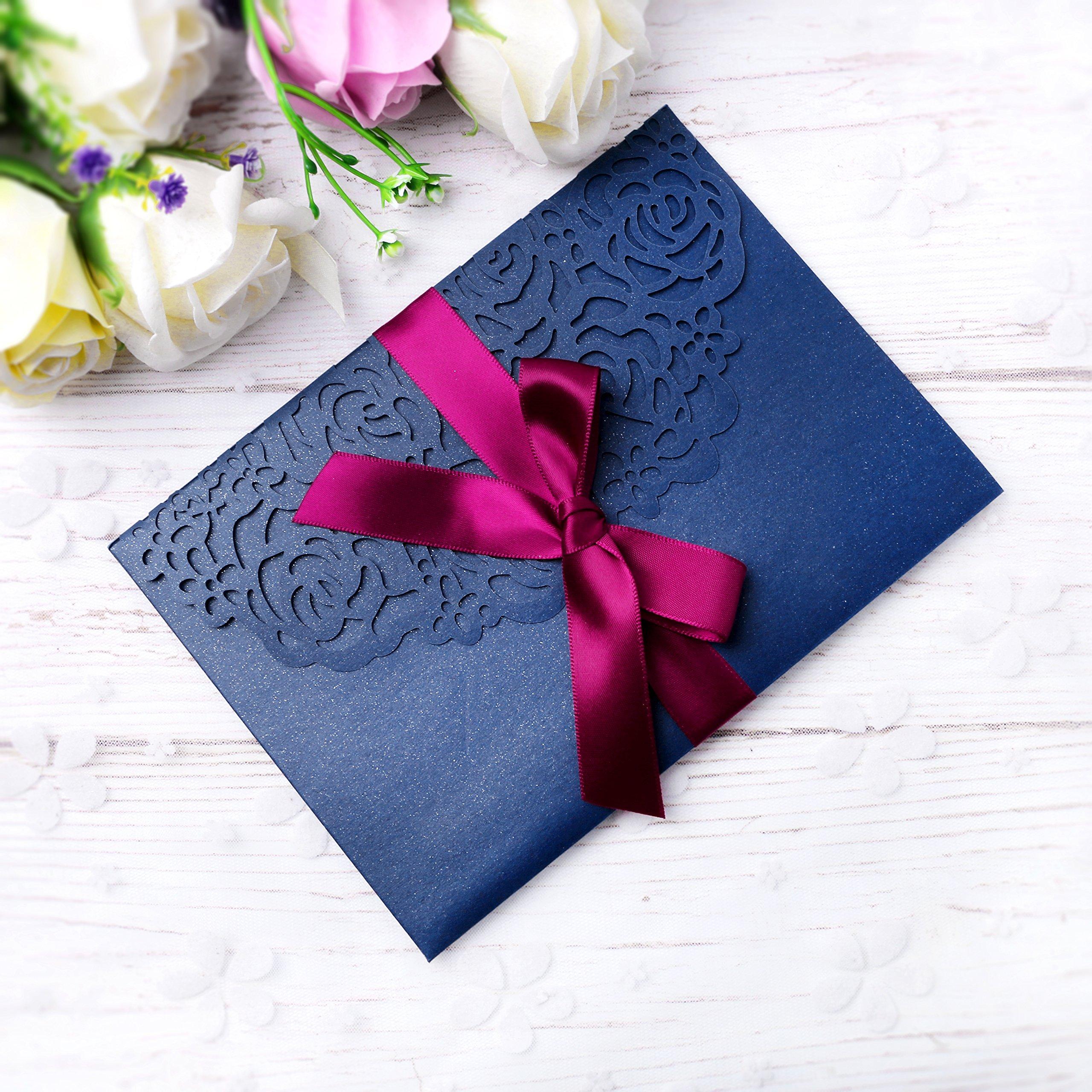 PONATIA 20 PCS 3 Folds 5x7'' Navy Blue Wedding Invitations Cards With Ribbons For Wedding Bridal Shower Engagement Birthday Graduation Invitation Cards (Navy Blue) by PONATIA
