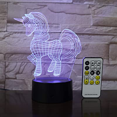 Unicorn 3D Night Light, Children Table Desk visual Lamp, Remote, Touch Control, Smart Bedroom Decor, Kids Birthday Gift, Friends, Unique Decorative LED, 7 Colors, Touch, Intelligent Lamps, New Version: Home Improvement