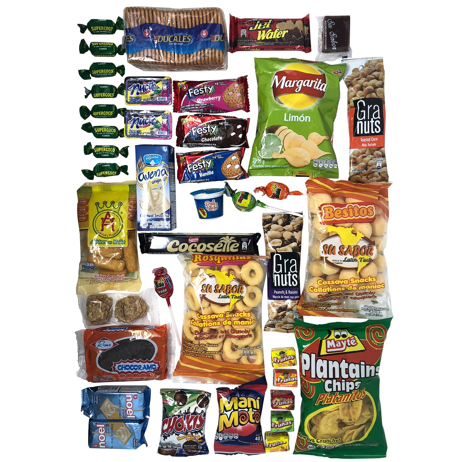 Colombian Snacks Sampler Box - Mecato Colombiano - Cookies, Chips & Candies Variety Pack (40 count / 25 different items plus one 16 count nucita ...