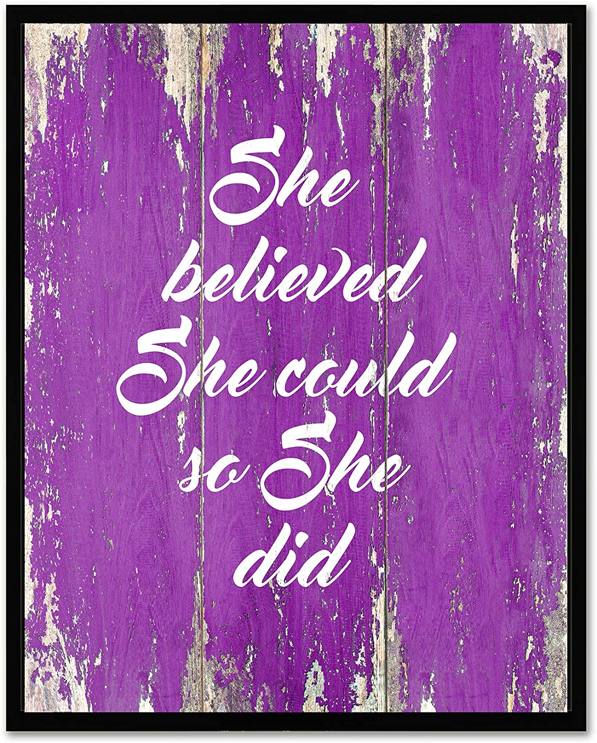 She Believed She Could So She Did - FRAMED - Quote Motivational Wall Art Canvas Print Home Decor, Black Real Wood Frame, Purple, 7x9