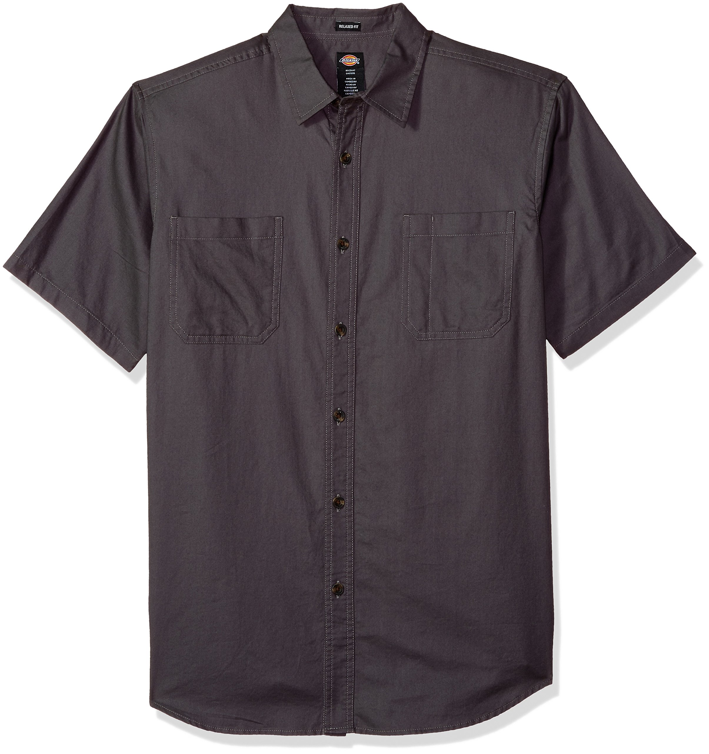 Dickies Men's Relaxed Fit Solid Short Sleeve Shirt, Charcoal, 2X