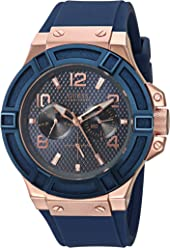 GUESS Rigor Iconic Blue Stain Resistant Silicone Watch with Rose Gold-Tone Day + Date