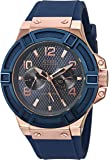 Guess Men's Blue And Rose Gold Tone Rigor Standout Casual Sport Watch