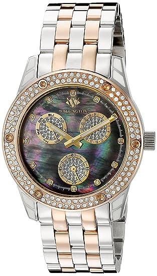 Wellington WN507-121B - Reloj analógico de cuarzo para mujer con correa de acero inoxidable, color plateado: Amazon.es: Relojes