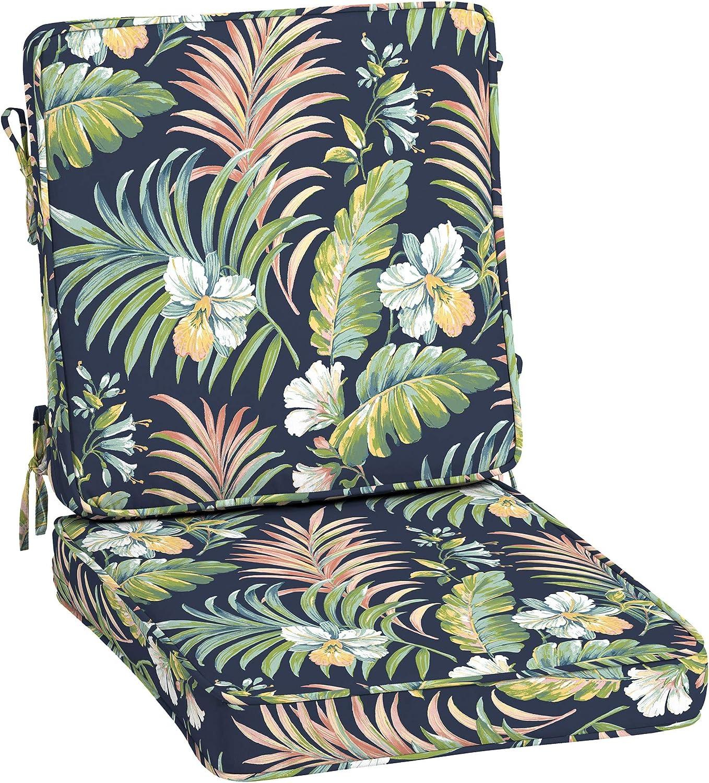 Arden Selections ProFoam Essentials 20 x 20 x 3.5 Inch Outdoor High Back Chair Cushion, Simone Blue Tropical