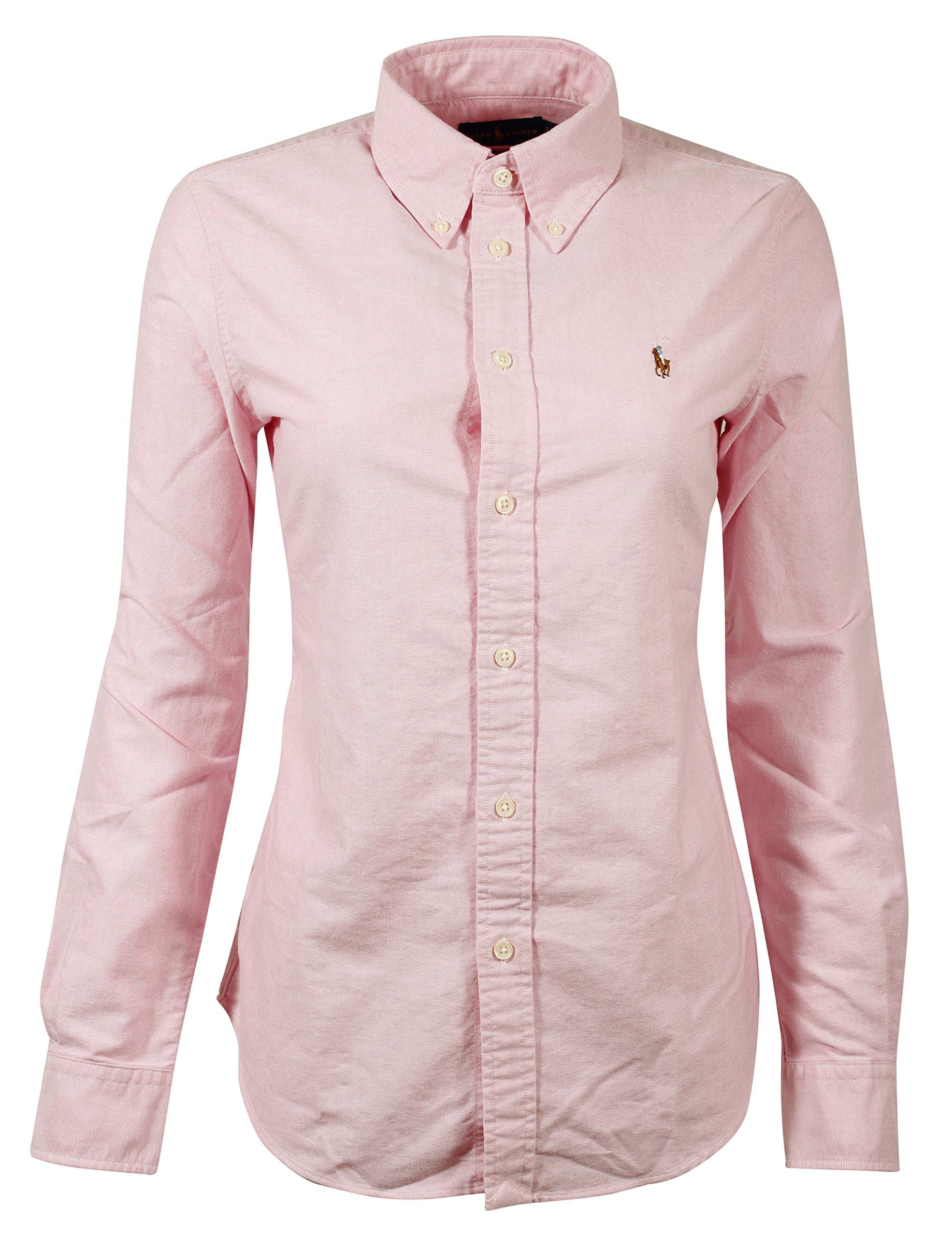 Ralph Lauren Polo Women's Custom Fit Oxford Button Down Shirt (Medium, New Rose)