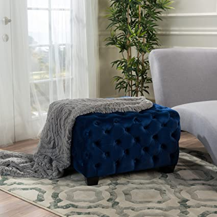Best Amazon.com: Provence Navy Blue Tufted New Velvet Ottoman: Kitchen  II83