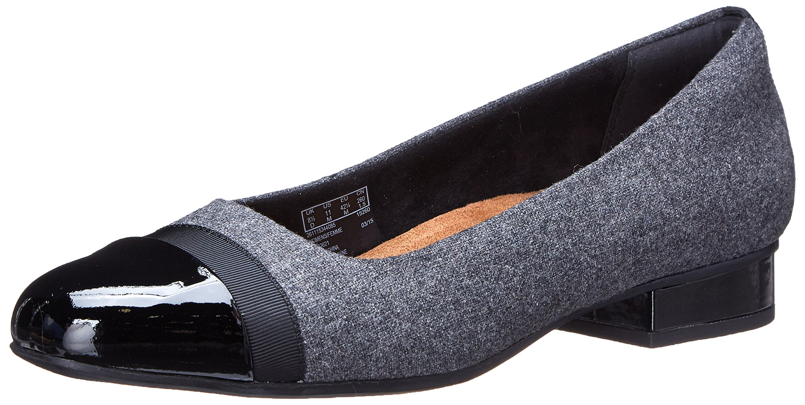 CLARKS Women's Keesha Rosa Flat, Grey Synthetic Fabric, 5.5 M US by CLARKS