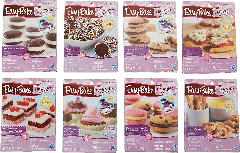 Amazon Com Easy Bake Oven Refills Set Of 8 Kits Truffles Cakes Pies Pretzels Cookies Pizza Toys Games