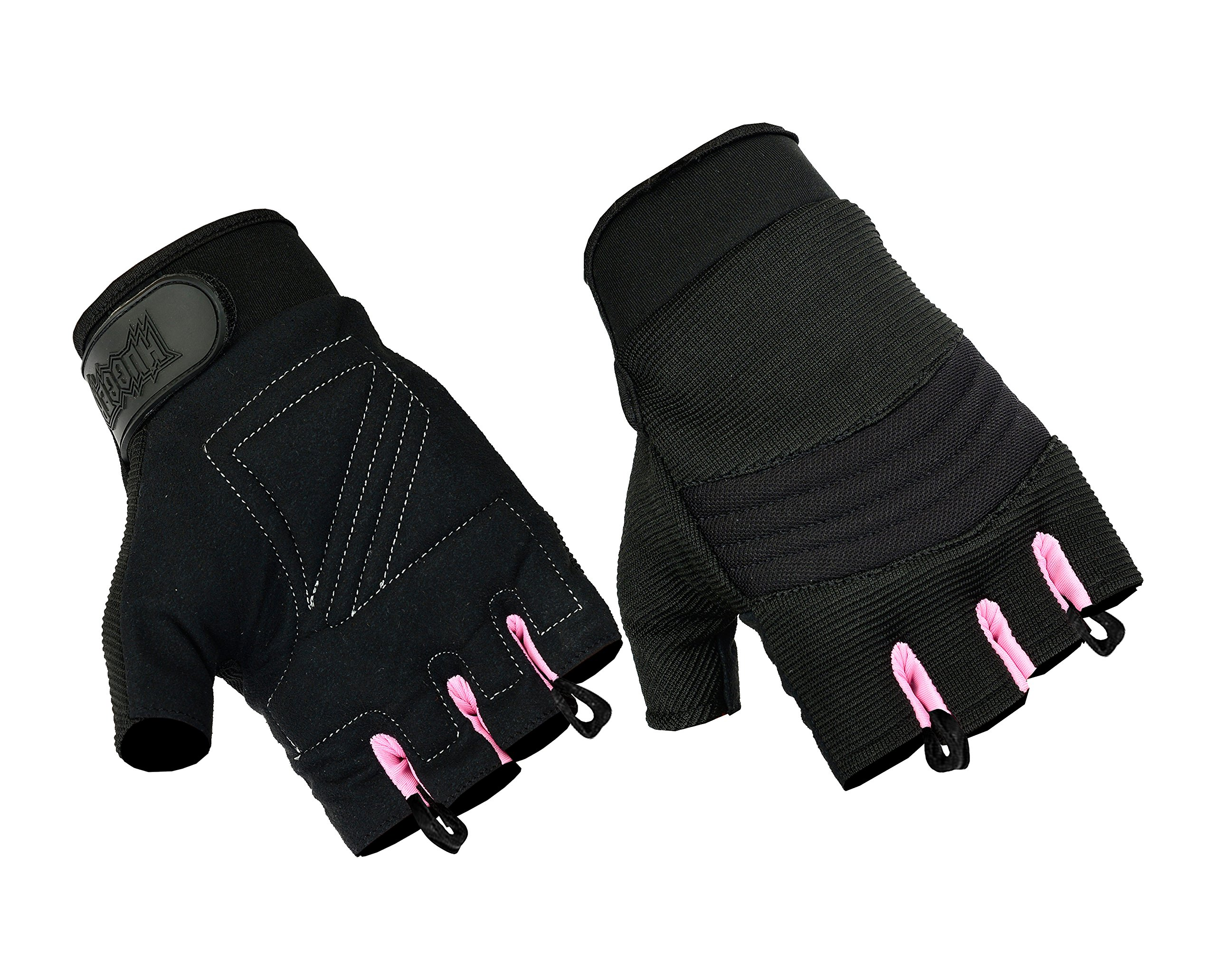 Women's Air Cooled No Sweat Knit Extreme Comfort Fingerless Riding Gloves (Large, Pink/Black)