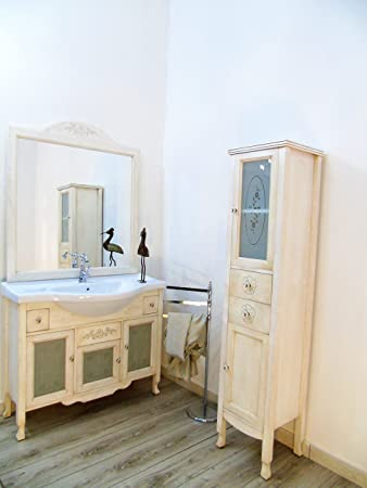 Arredo bagno shabby chic con colonna decorata mobilie bagno ...