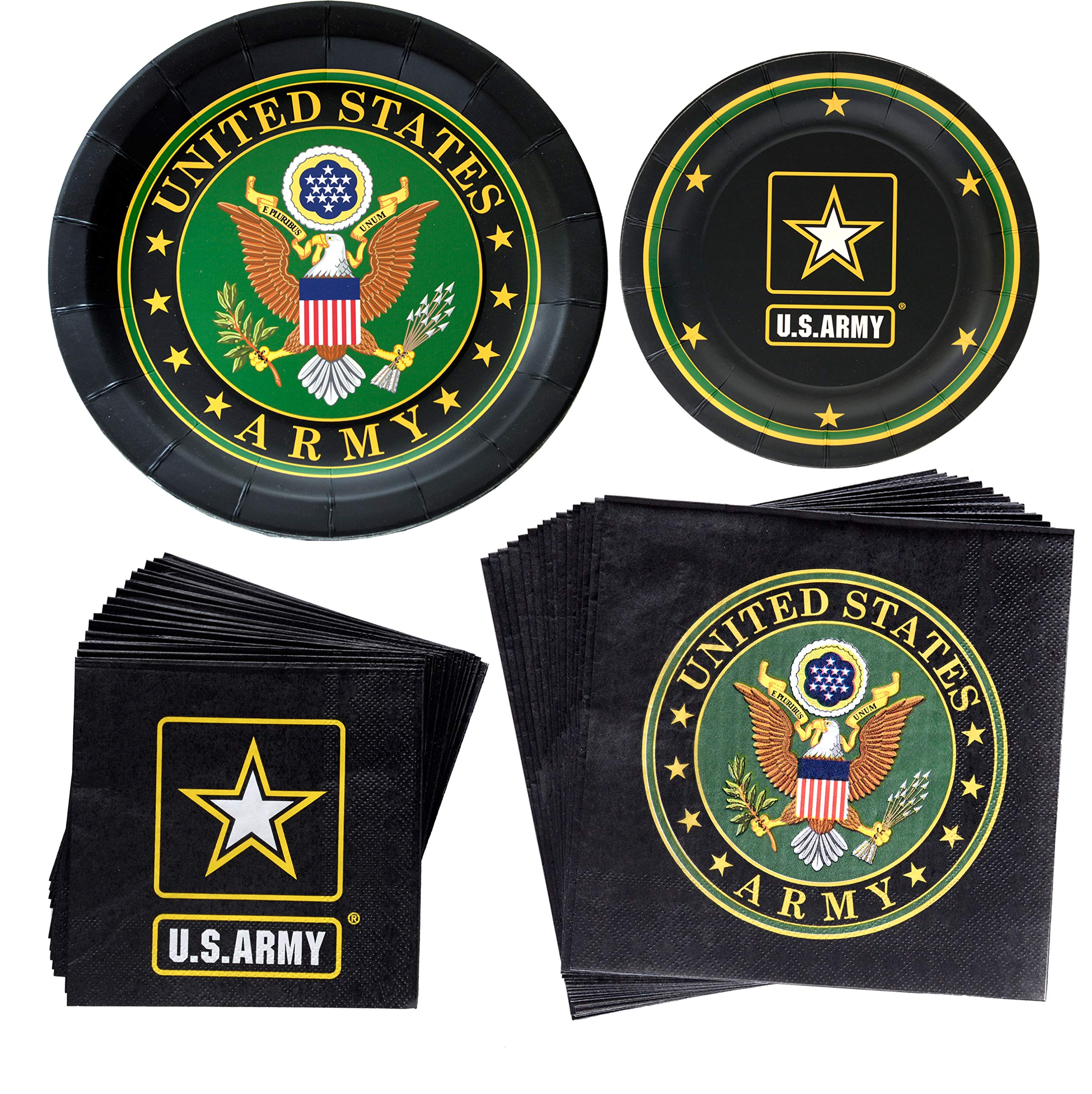 Havercamp US Army Party Bundle   Dinner & Dessert Plates, Luncheon & Beverage Napkins, Balloon   Great for Homecoming Party, Military Inspired Event, American Hero Themed Occasion