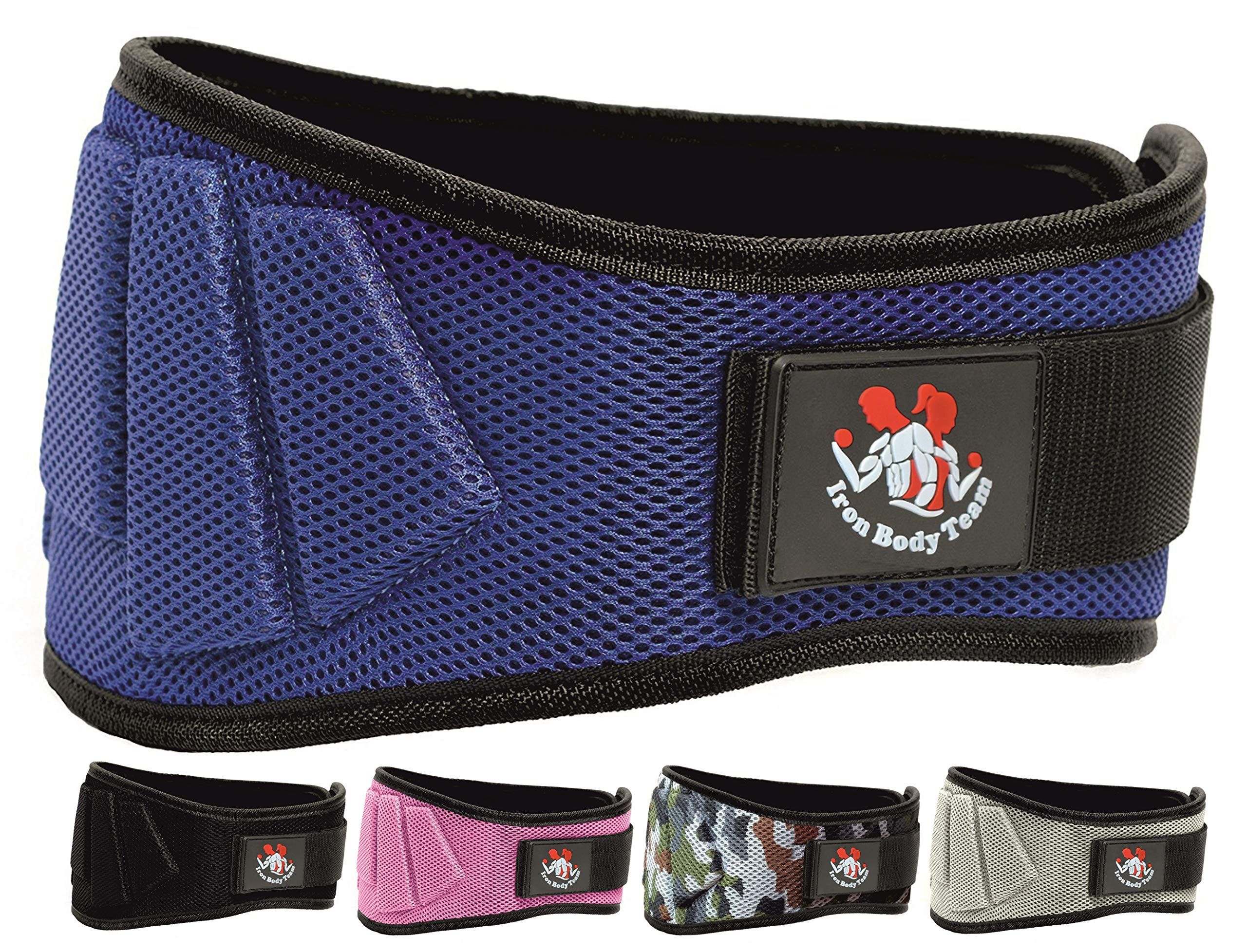 Iron Body Team Fully Adjustable Weightlifting Belt | Thick Lower Back & Core 6 inch Support for Men & Women | (Blue, XS)
