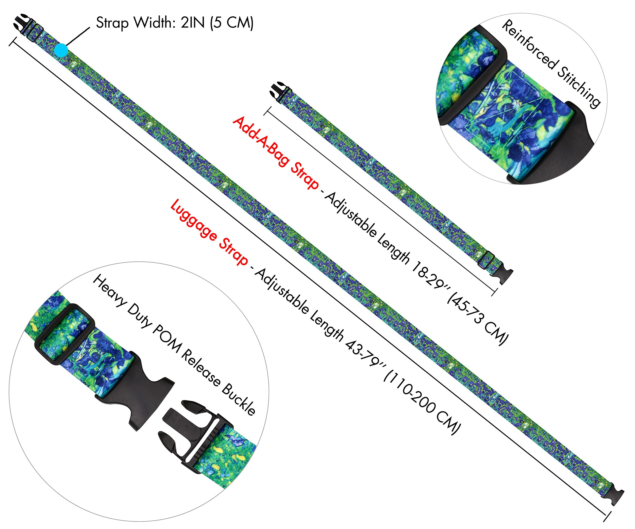 Vincent Van Gogh Irises Travel Luggage Strap Suitcase Security Belt. Heavy Duty & Adjustable. Must Have Travel Accessories. TSA Compliant. 1 Luggage Strap & 1 Add A Bag Strap. 2-Piece Set. by One In A Millionaire (Image #3)