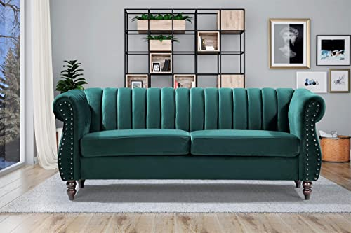 Container Furniture Direct Quinones Modern Chesterfield Channel Tufted Sofa Set