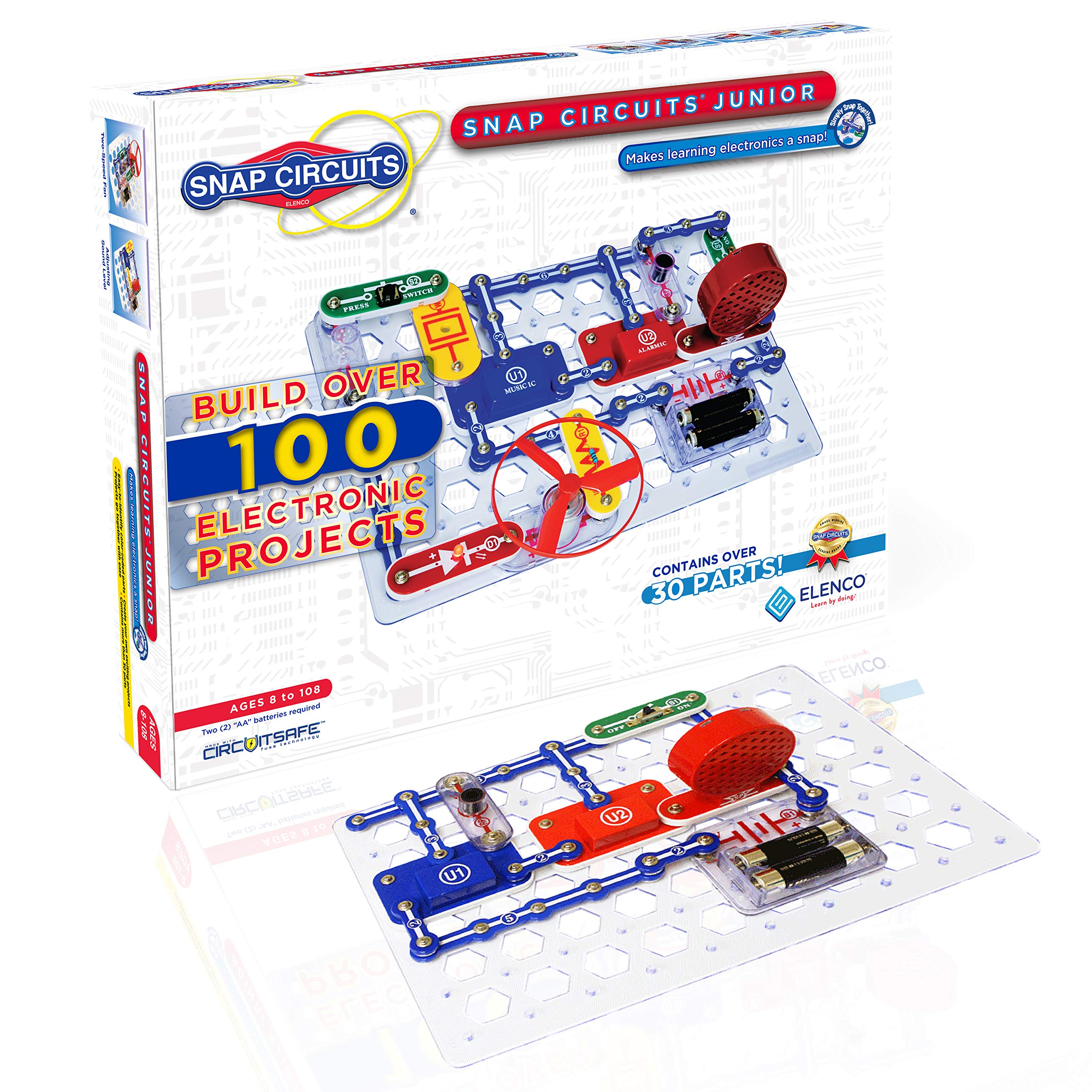 Snap Circuits Jr. SC-100 Electronics Exploration Kit | Over 100 Projects | Full Color Project Manual | 30+ Snap Circuit Parts | STEM Educational Toy For Kids 8+ by Snap Circuits