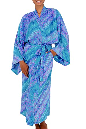 cfb2e4551d8 Amazon.com  NOVICA Blue Batik Lightweight Rayon Robe