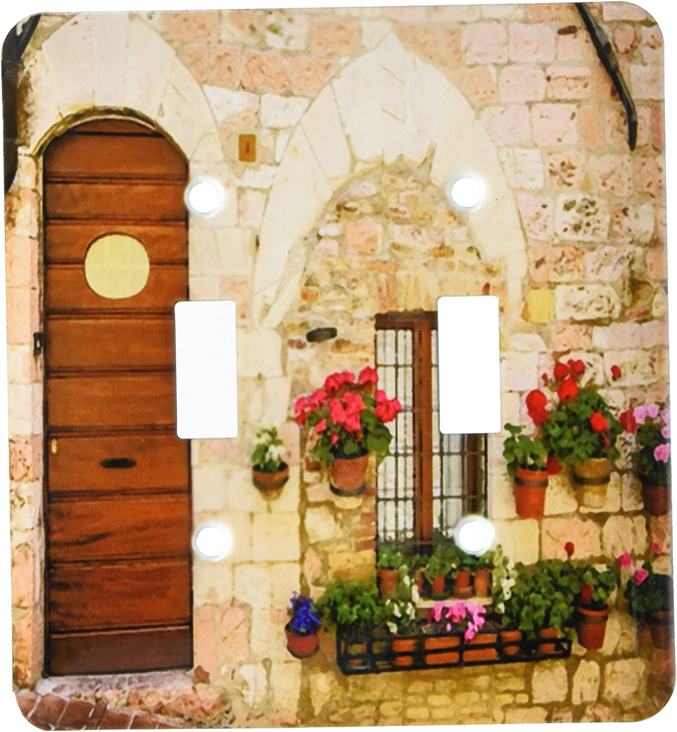 3drose Lsp 205034 2 Print Of Painting Of Old Italian Entryway With Flowers Double Toggle Switch Amazon Com