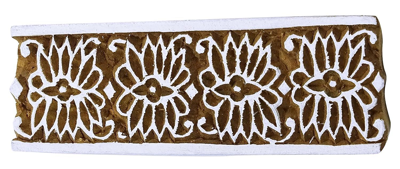 Vintage Wood Hand geschnitzte Holztextil Stempel f/ür den Druck Fabrics