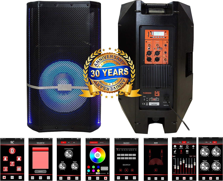 Amazon Com Mr Dj Pled5000 2 Way 15 Portable Active Speaker With Mp3 Fm Radio Bluetooth Smart App Musical Instruments