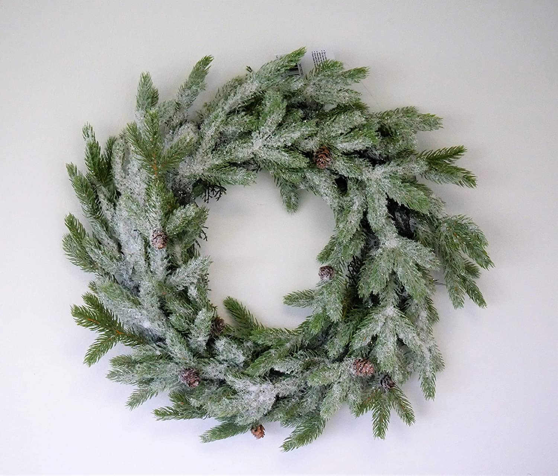 HomeZone/® Festive Christmas Wreath 45cm Diameter Ice Effect Snow Covered Christmas Decorations 45cm Diameter Wreath Festive Xmas Home Garden Decor High Detail Seasonal Decoration For Home