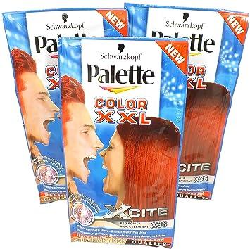 3x Schwarzkopf Palette Color XXL Xcite Red Power X36 25ml - Hair