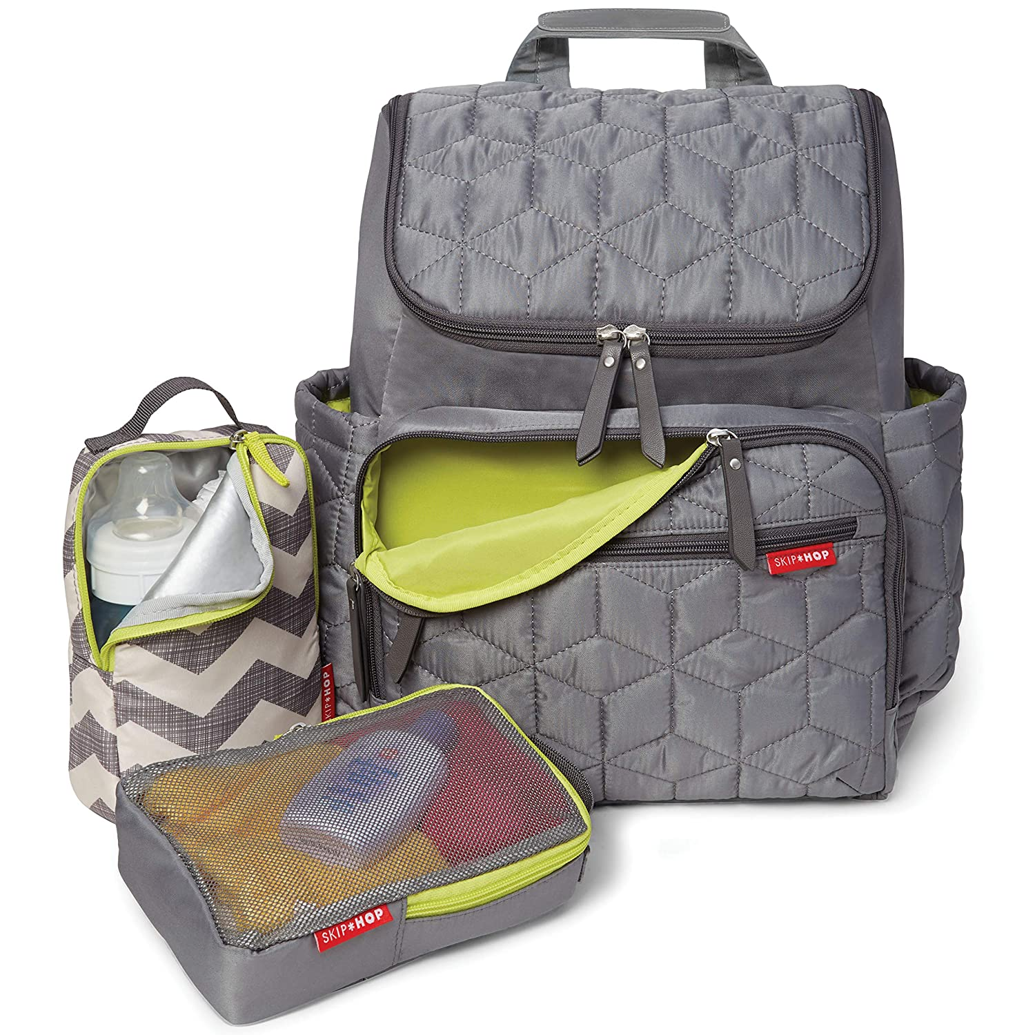 Skip Hop Diaper Bag Backpack: Forma, Multi-Function Baby Travel Bag with Changing Pad & Stroller Attachment, Grey