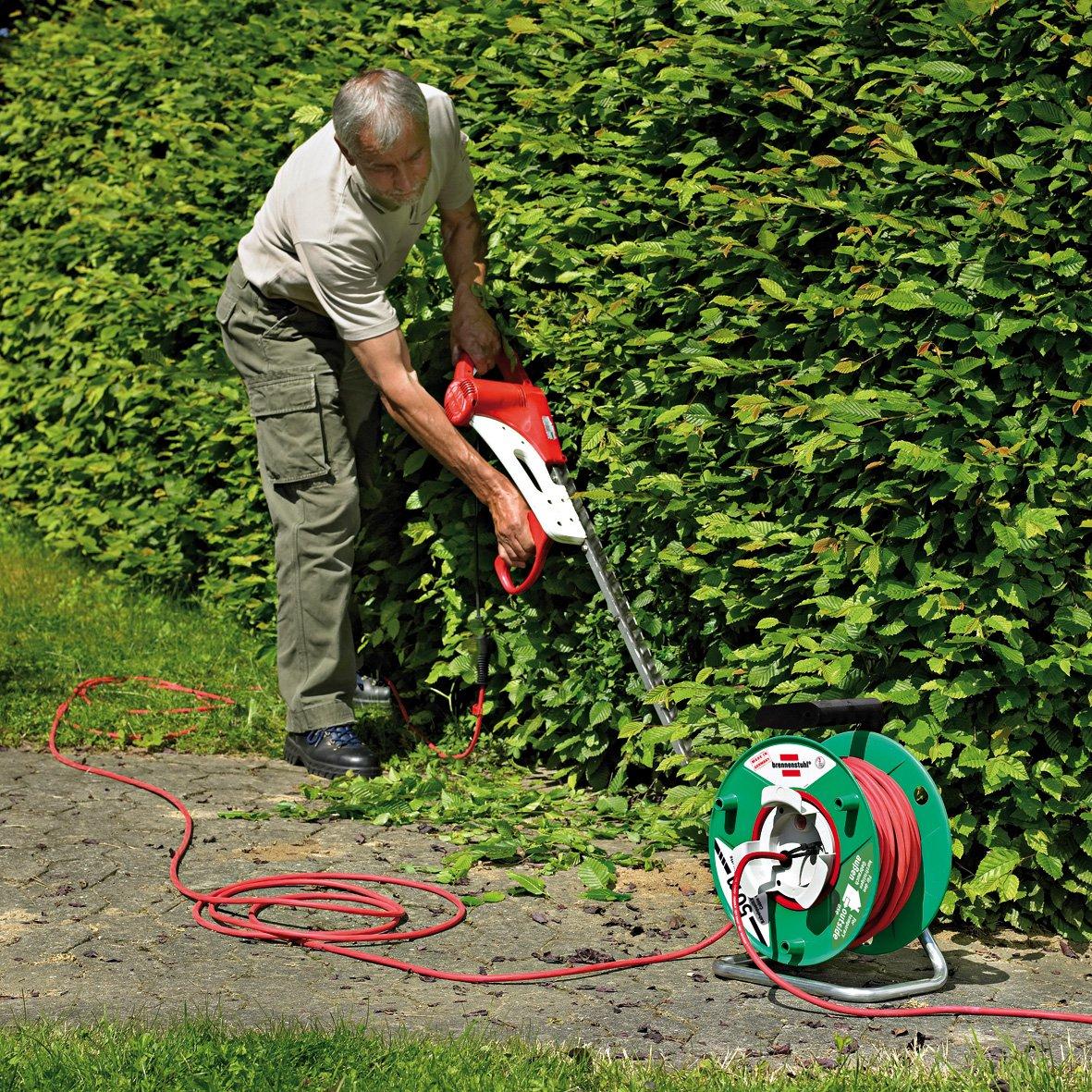 50 m vert /& rouge Jardi-50 Brennenstuhl Enrouleur de c/âble jardin rallonge ext/érieure 50m avec 1 prolongateur 2P+T /& 1 fiche 2P+T Quantit/é : 1