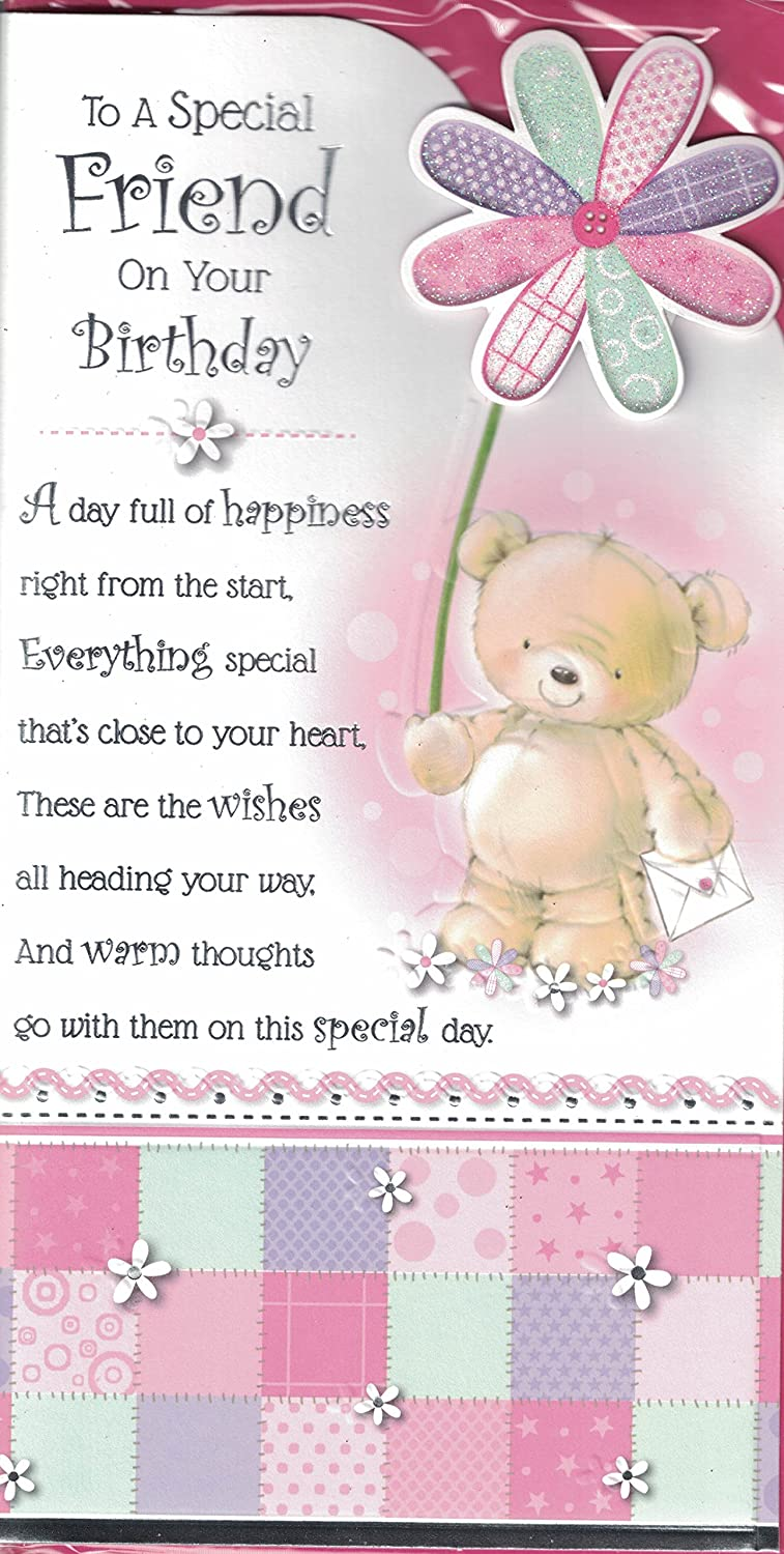 Friend birthday card to a very special friend on your birthday friend birthday card to a very special friend on your birthday cute bear purple butterflies slim card amazon office products kristyandbryce Choice Image