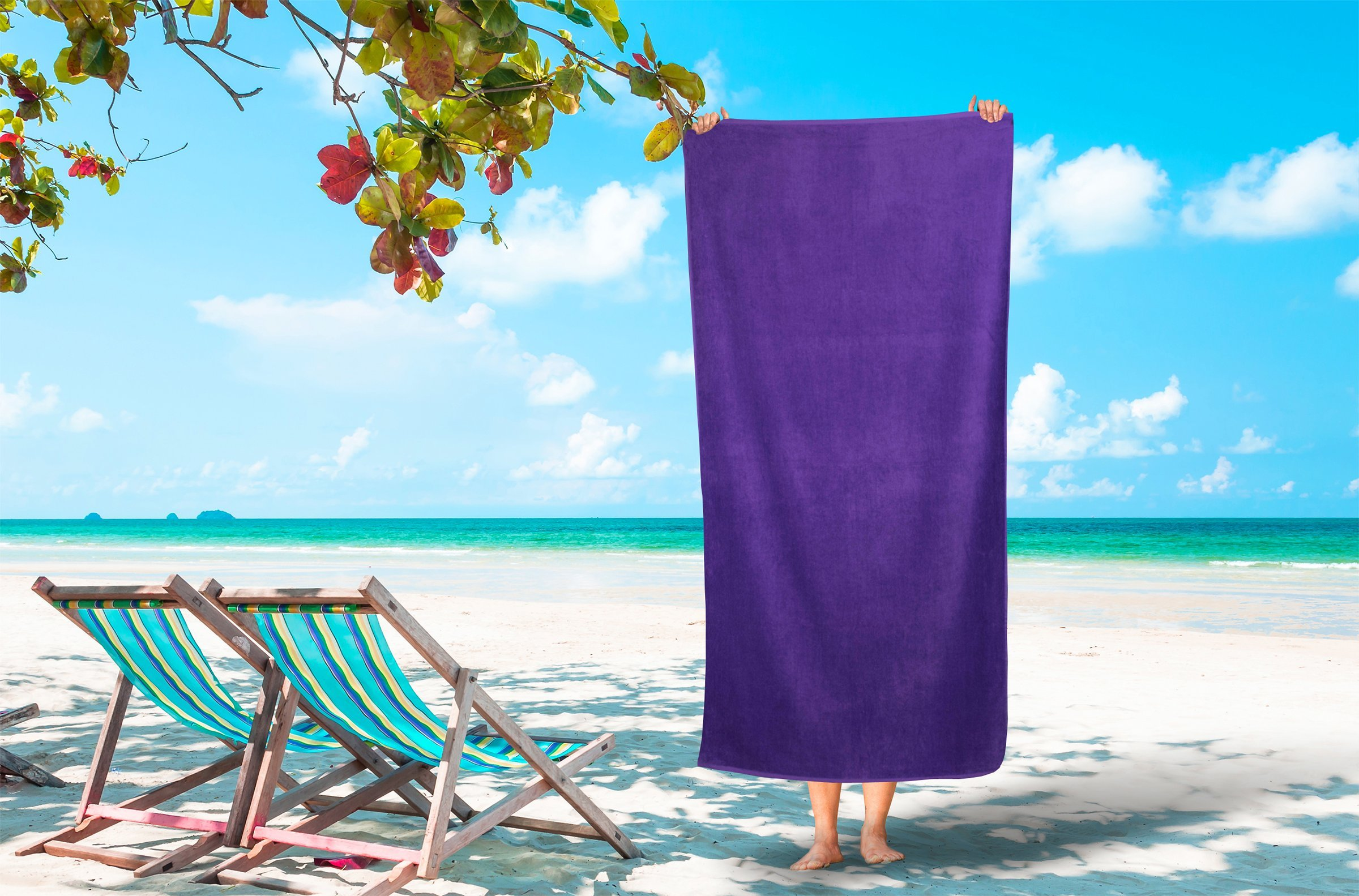 Corner4Shop Large 100% Turkish Cotton Ultra Soft Terry Velour Beach Towel Spa Bath Pool by (1, Purple)