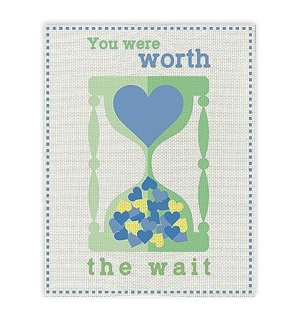 Amazoncom You Were Worth The Wait Print Watch Blue Baby Shower