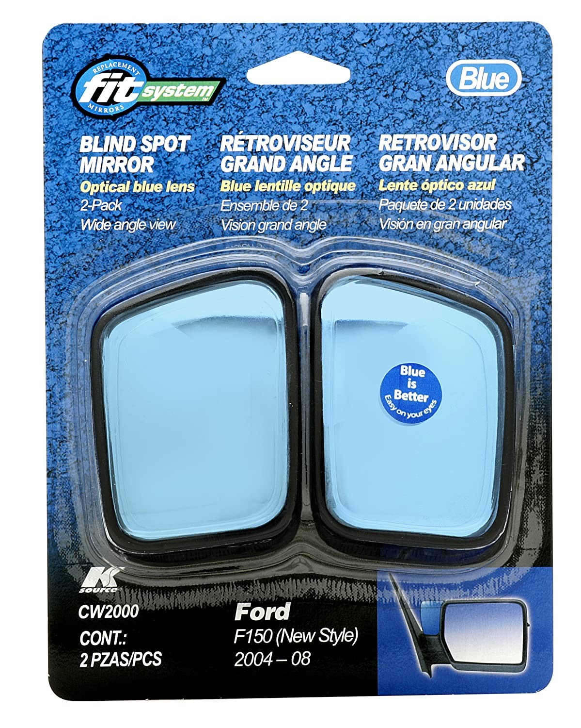 Fit System CW2000 Custom Spot Mirror with Optical Blue Lens, Pair