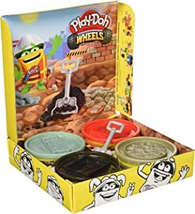 Play-Doh Wheels Buildin' Compound 4-Pack Bundle of Extra Large Cans, 4 Non-Toxic Colors